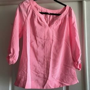 Lilly Pulitzer 3/4 Sleeve Stripe Silk Top